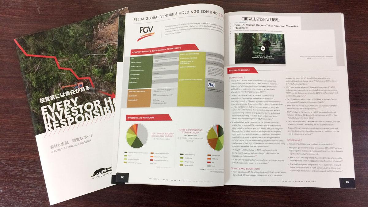 写真:レインフォレスト・アクション・ネットワーク様ご注文の中綴じ冊子